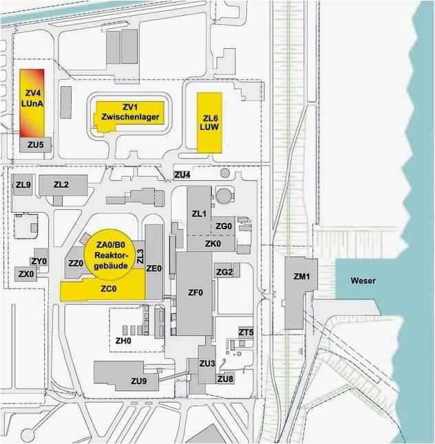 Das Kernkraftwerk Unterweser ist auf den ersten Blick eine ganz normale Industrieanlage. Bis auf vier Bereiche, die in diesem Übersichtsplan farbig markiert sind. Denn in denen wird mit radioaktivem Material hantiert. Beim jetzt anstehenden Erörterungstermin geht es um die Entsorgung des Reaktorgebäudes und des dazu gehörenden Hilfsanlagengebäudes (ZCO). Radioaktiv belastete Abfälle sollen in einer neu zu errichtenden Lagerhalle (ZV4) untergebracht werden, weil das Endlager Schacht Konrad noch nicht zur Verfügung steht. Bereits vorhanden ist das Fasslager (ZL6) mit bearbeiteten Abfällen und das Zwischenlager (ZV1), in dem derzeit 26 Castorbehälter mit abgebrannten Brennelementen deponiert werden. Grafik Eon Kernkraft