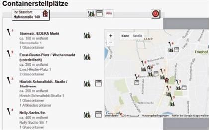 Auf der Internetseite http://kalender.beg-logistics.de/locations/public gibt es diese Übersicht über die näheren Standorte von Glas- und Altkleidercontainern, wenn man seine Adresse eingibt. Screenshot nz